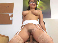 Cassidy Banks rides will not hear of boss up will not hear of hairy pussy