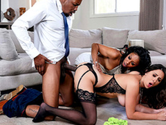 Ashley Adams has an interracial triple around Misty Stone together with Isiah Maxwell