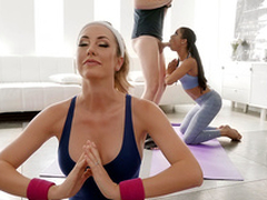 Downward Doggy position with Brett Rossi and Kira Noir - Reality Kings HD