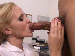 Teacher with big tits Julia Ann gags on student's black cock in m'lange