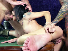 Two abandoned males gangbanged Holly Hendrix's each time space on the synthesize table