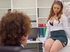 Creampies beside sexy office secretary Lena Paul