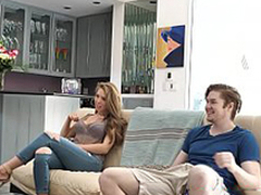 Busty sister Lena Paul fucked while dad watches game