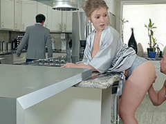 Lena Paul receives a load on her tits about the kitchen hardcore
