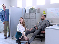 Busty blonde MILF secretary Lena Paul fills will not hear of brashness with cum