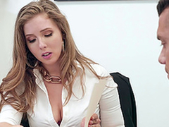 Buxom blonde copyist Lena Paul gets cum more than grand special at the office