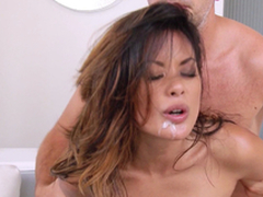 Hot Oriental Chick Gets Glabrous Off with And Anal invasion Crevice A Hard-core Pounding