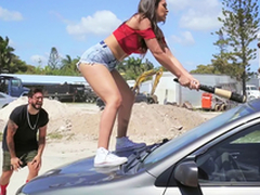 Hot Latin babe smashes her boyfriend's wheels added to fucks a stranger as a revenge
