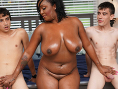 Ebony Mom Having Fun With Stepson plus His Friend