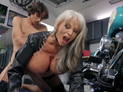 Sally D'Angelo gets pounded by young Ricky Spanish bordering her Harley