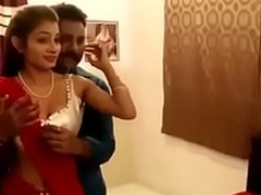Hot woman in red saree newly married