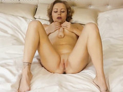 Amazing amateur pornstar masturbates and fucks herself by sextoy upstairs a difficulty bed